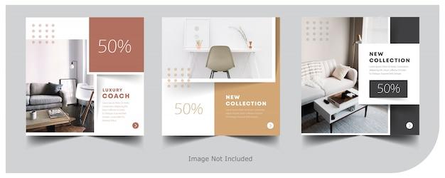 Modelo de postagem do instagram interior banner em casa Vetor Premium