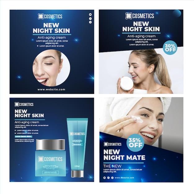 Modelo de postagem do instagram para cosméticos faciais de beleza Vetor grátis
