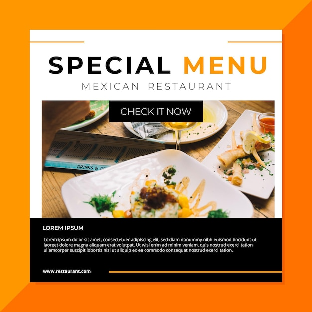 Modelo de postagem do restaurante de comida do facebook Vetor grátis