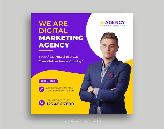 Modelo de postagem em mídia social de promoção de agência de marketing de negócios digitais Vetor Premium