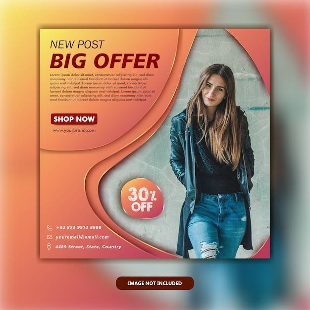 Modelo de postagem em mídia social Vetor Premium