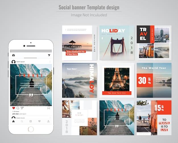 Modelo de postagem - férias social media Vetor Premium