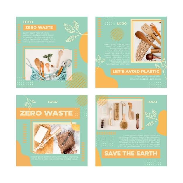 Modelo de postagem instagram sem resíduos de ambiente Vetor Premium