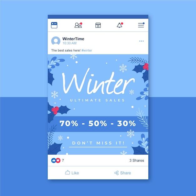 Modelo de postagem no facebook de inverno Vetor grátis