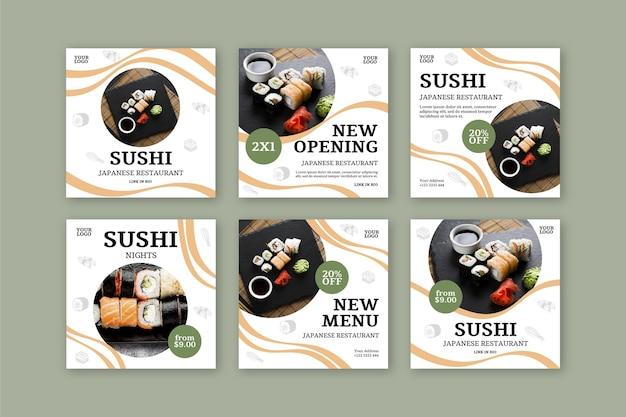 Modelo de postagem no instagram de restaurante de sushi Vetor grátis
