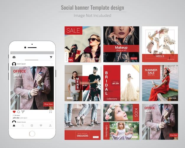 Modelo de postagem - vermelho moda social media Vetor Premium
