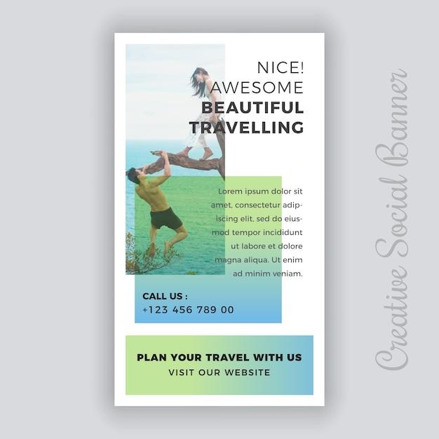 Modelo de postagem - viaje de mídia social Vetor Premium