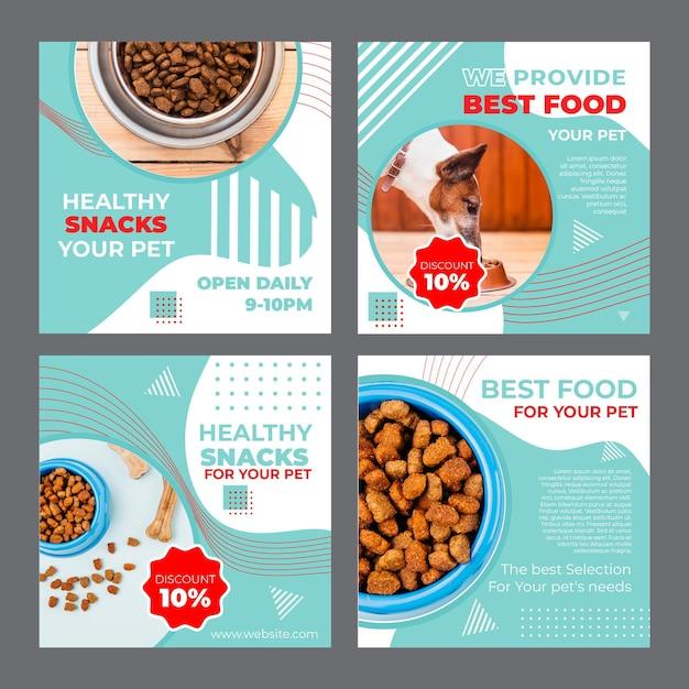 Modelo de postagens de instagram de pet food com foto Vetor grátis