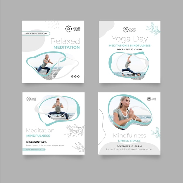 Modelo de postagens do instagram de meditação e atenção plena Vetor Premium