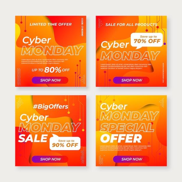 Modelo de postagens do instagram para cyber monday Vetor Premium