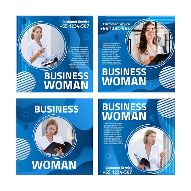 Modelo de postagens do instagram para mulher de negócios Vetor grátis