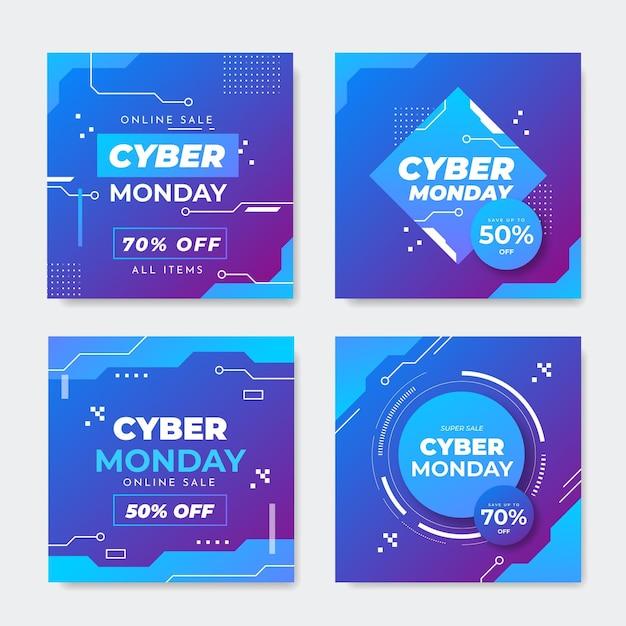 Modelo de postagens instagram cibernéticas de segunda-feira Vetor grátis