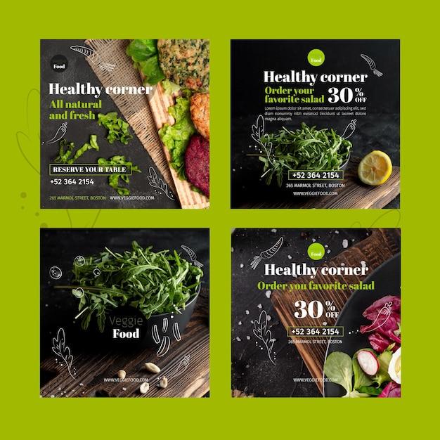 Modelo de postagens instagram de restaurante saudável Vetor grátis