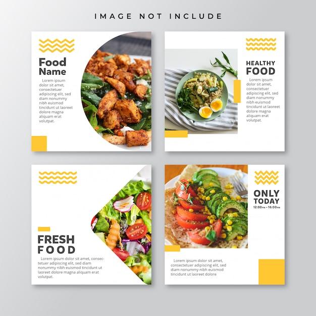 Modelo de postagens - social media de alimentos Vetor Premium