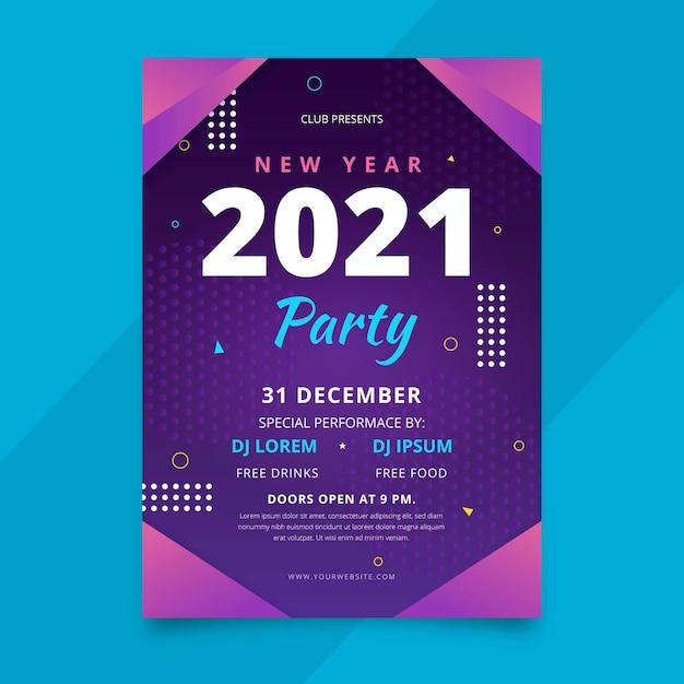 Modelo de pôster abstrato de festa de ano novo 2021 Vetor grátis