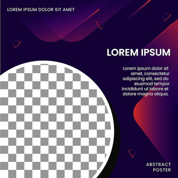 Modelo de pôster abstrato para promoção com espaço de imagem Vetor Premium