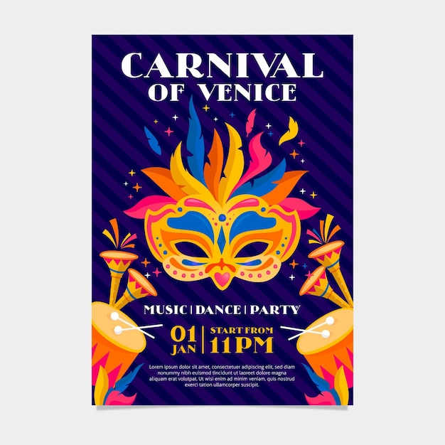 Modelo de pôster de carnaval veneziano com máscara colorida Vetor grátis