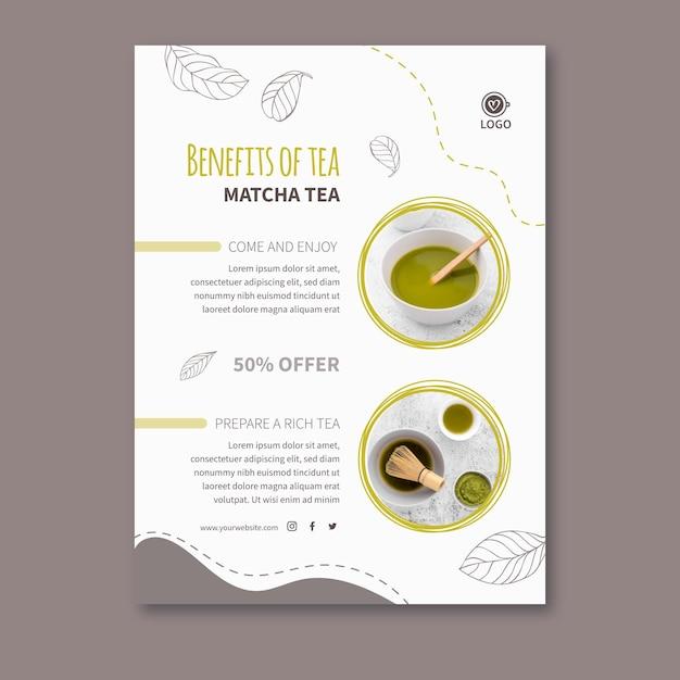 Modelo de pôster de chá matcha Vetor grátis