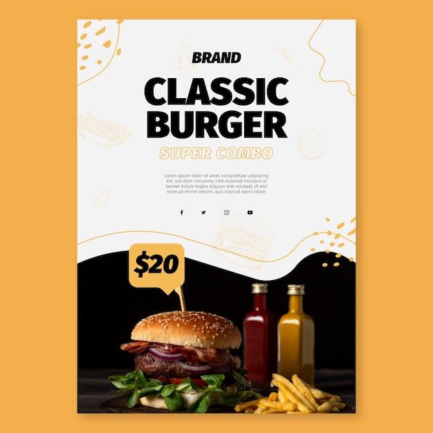 Modelo de pôster de comida americana Vetor Premium