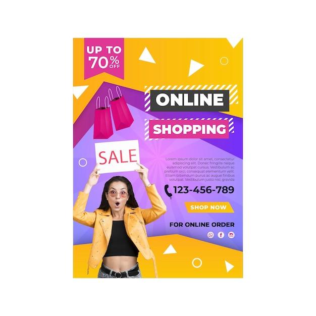 Modelo de pôster de compras online Vetor grátis