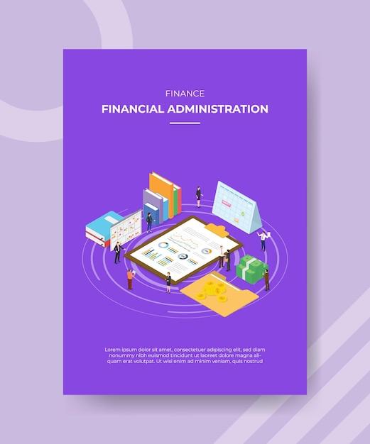 Modelo de pôster de conceito de administração financeira com ilustração vetorial de estilo isométrico Vetor Premium