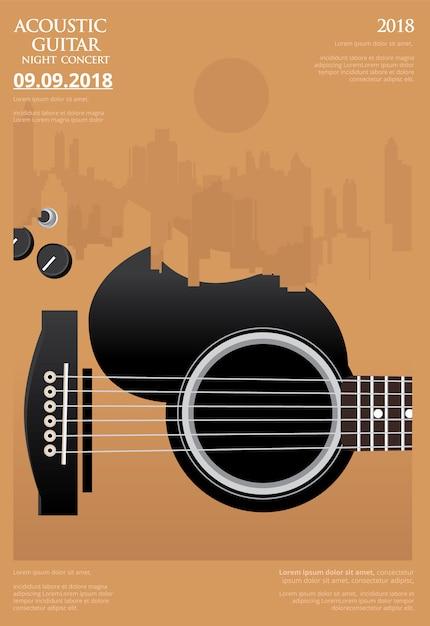 Modelo de poster de concerto de guitarra vector illustration Vetor Premium