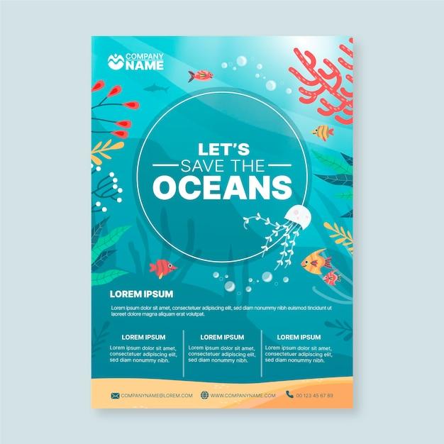 Modelo de pôster de ecologia de oceanos Vetor Premium