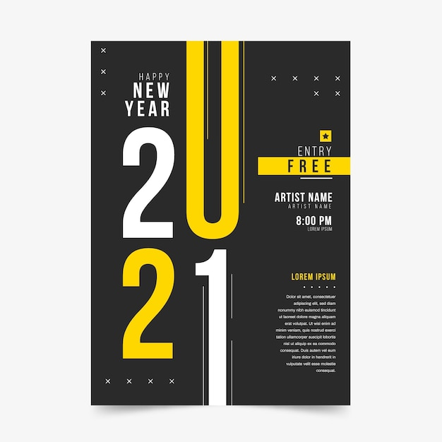 Modelo de pôster de festa de ano novo 2021 Vetor grátis