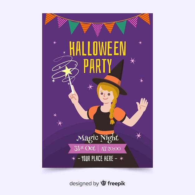 Modelo de pôster de festa de halloween de mão desenhada Vetor grátis