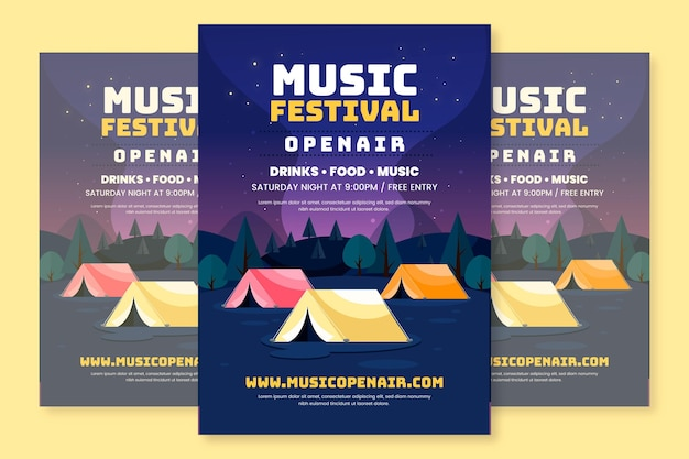 Modelo de pôster de festival de música ao ar livre em design plano Vetor grátis