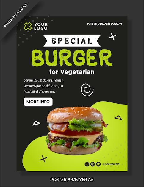 Modelo de pôster de menu especial de hambúrguer Vetor Premium