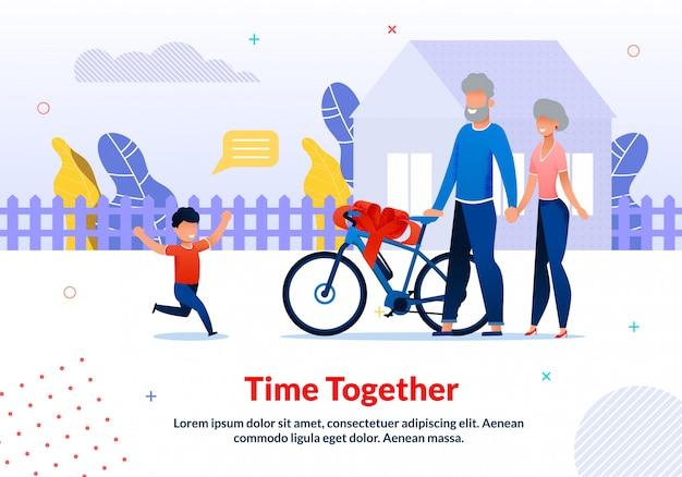 Modelo de poster de motivação para passar tempo com parentes Vetor Premium