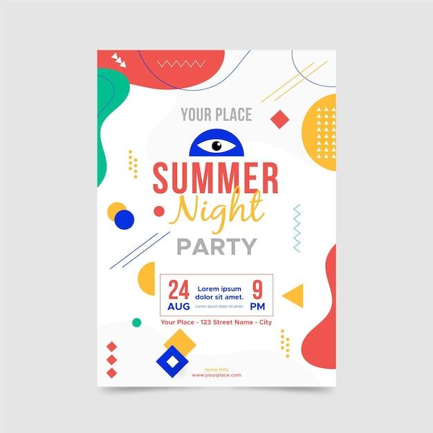 Modelo de pôster de noite de verão Vetor grátis