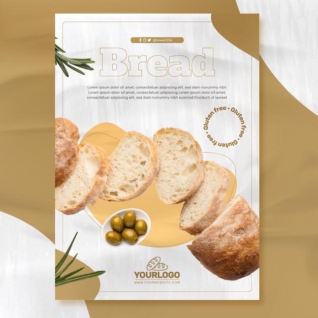 Modelo de pôster de pão fresco Vetor Premium
