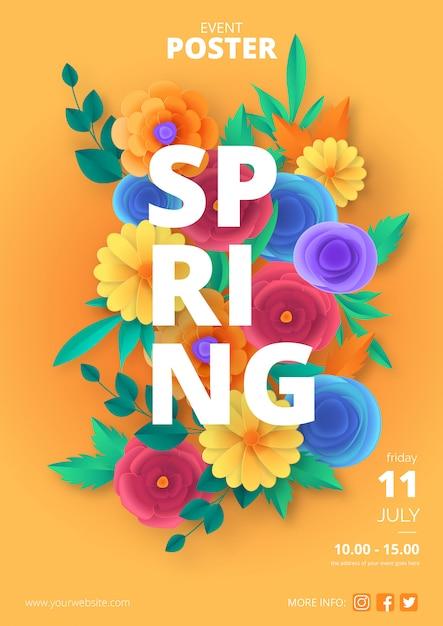 Modelo de poster de primavera com flores de corte de papel colorido Vetor grátis