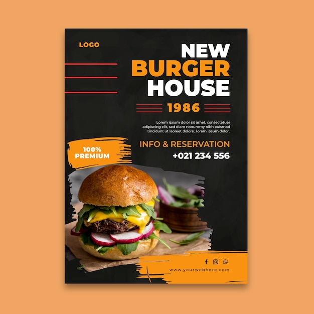 Modelo de pôster de restaurante de hambúrgueres Vetor grátis