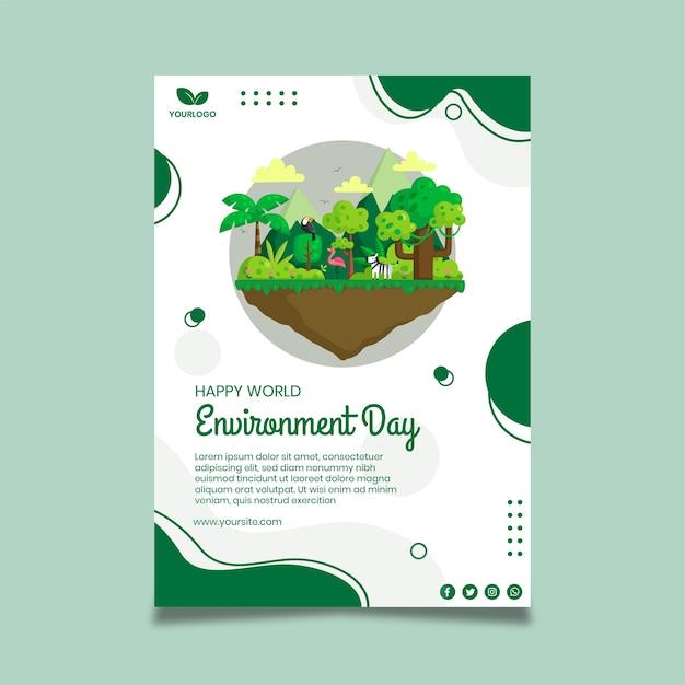 Modelo de pôster do dia do meio ambiente Vetor grátis