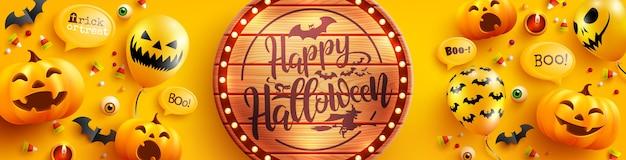 Modelo de pôster e banner de halloween com balões de abóbora e fantasma de halloween bonito em fundo amarelo. modelo de halloween assustador de site, plano de fundo ou banner Vetor Premium