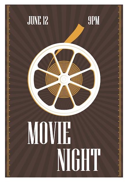 Modelo de pôster, folheto ou convite para noite de cinema, estréia de filme ou festival de cinema com rolo de filme retrô em marrom Vetor Premium