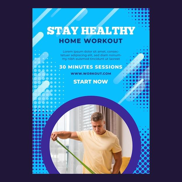 Modelo de pôster vertical para esporte em casa com atleta do sexo masculino Vetor grátis