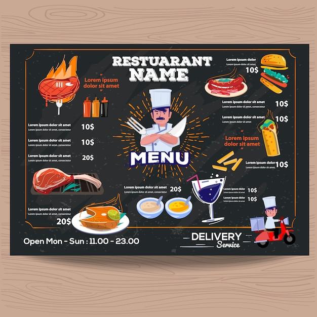 Modelo de preço de menu de restaurante churrascaria Vetor Premium