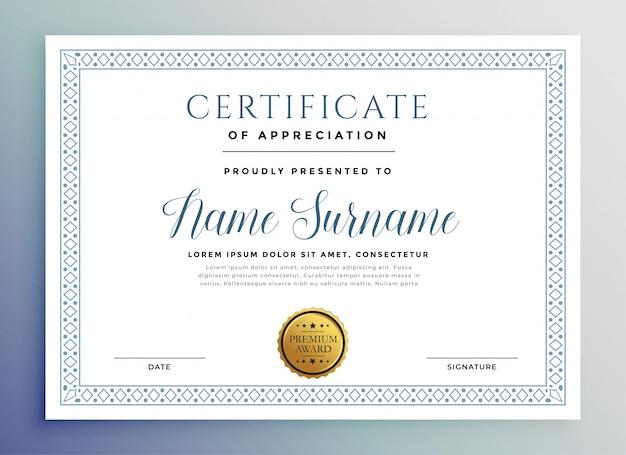 Modelo de prêmio de certificado clássico Vetor grátis