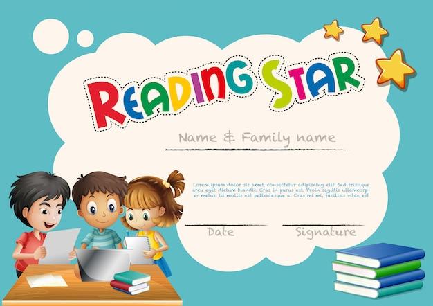 Modelo de prêmio estrela de leitura com fundo de crianças Vetor Premium