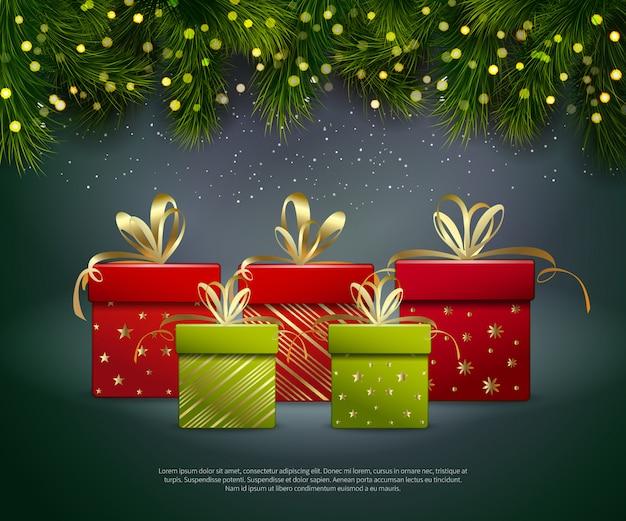 Modelo de presentes de natal Vetor grátis