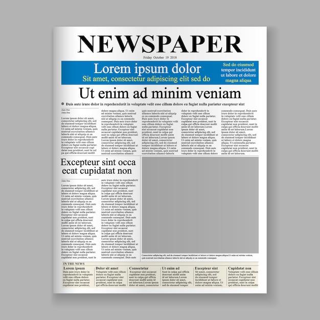 Modelo de primeira página de jornal realista. Vetor Premium