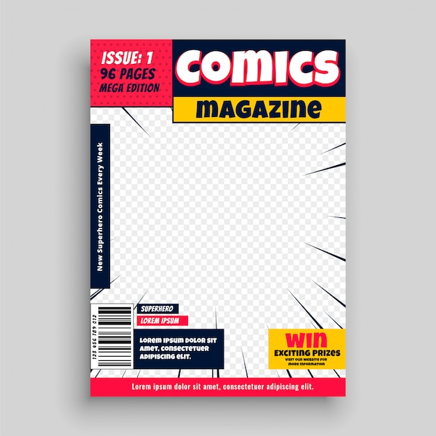 Modelo de primeira página de livro de revista em quadrinhos Vetor grátis