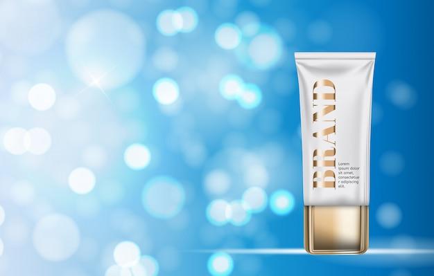 Modelo de produto de design de cosméticos para anúncios ou fundo de revista Vetor Premium