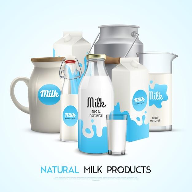 Modelo de produtos de leite natural Vetor grátis