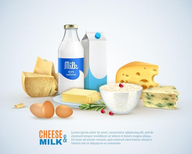 Modelo de produtos de leite Vetor grátis