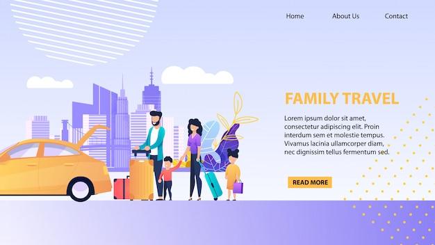 Modelo de promoção com a família carregando bagagem no tronco de táxi aberto Vetor Premium